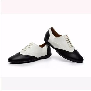 White & Black Leather Salsa Dance Shoes